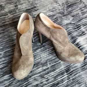 Barneys NY Split Top Suede Heeled Ankle Boots